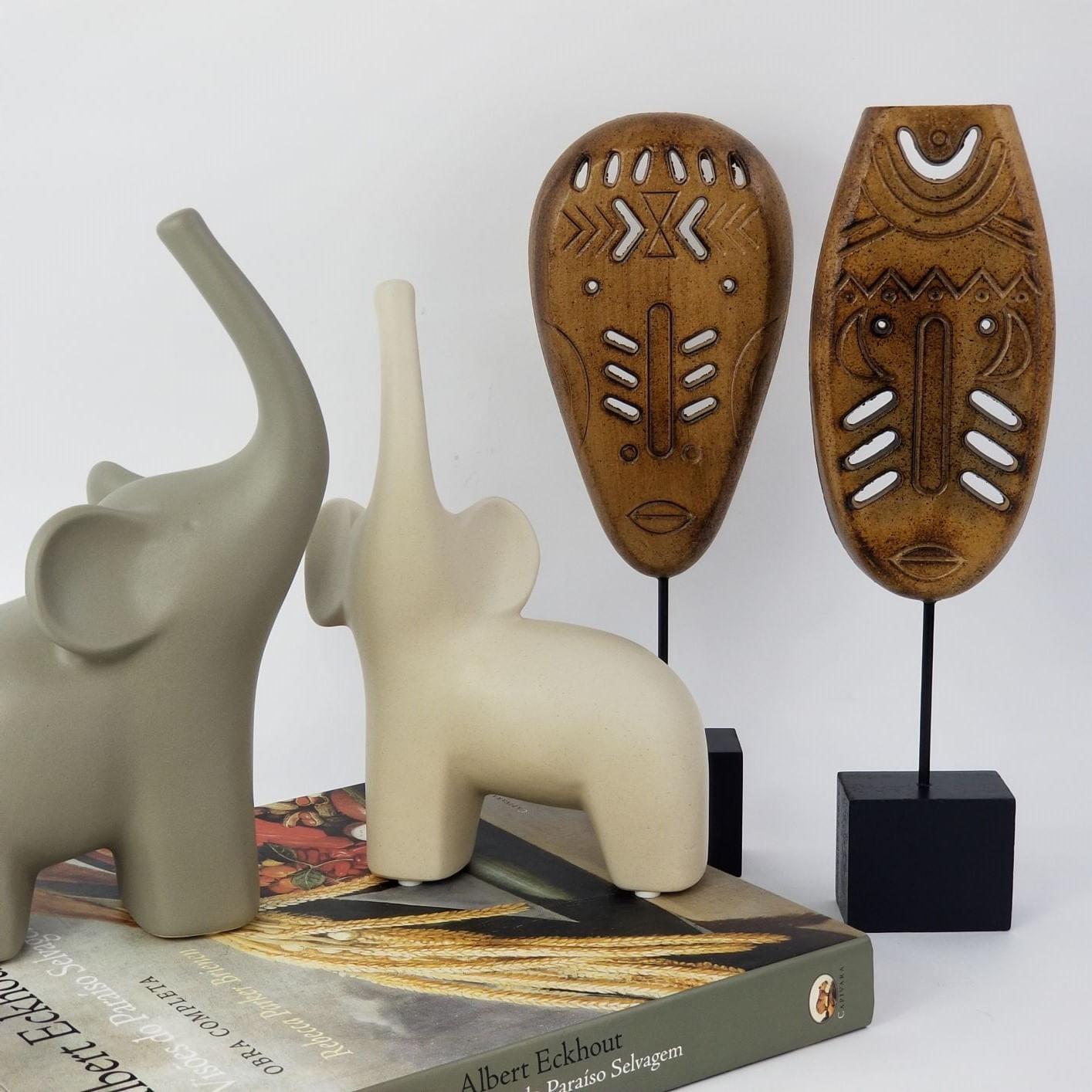 Elefante Decorativo de Cerâmica - Pequeno Branco Off-White