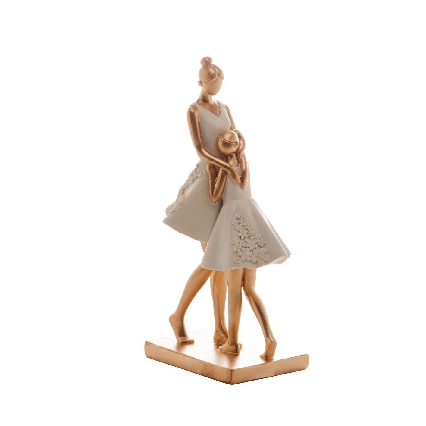 Escultura Decorativa Família: Mãe e Filha Se Abraçando