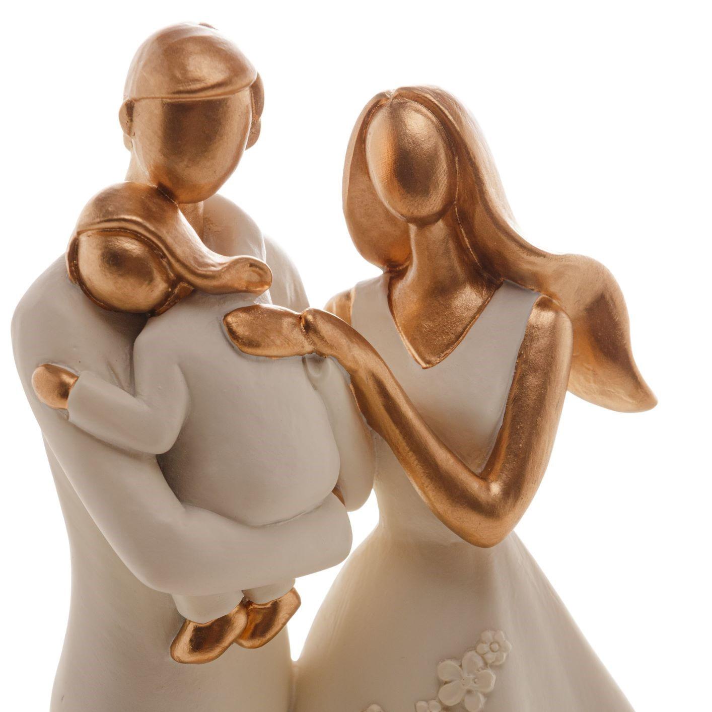 Escultura Decorativa Família: Mamãe e Papai Segurando Filha