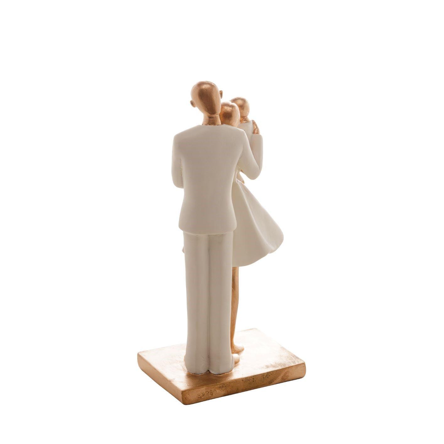 Escultura Decorativa Família: Papai e Mamãe Segurando Filho