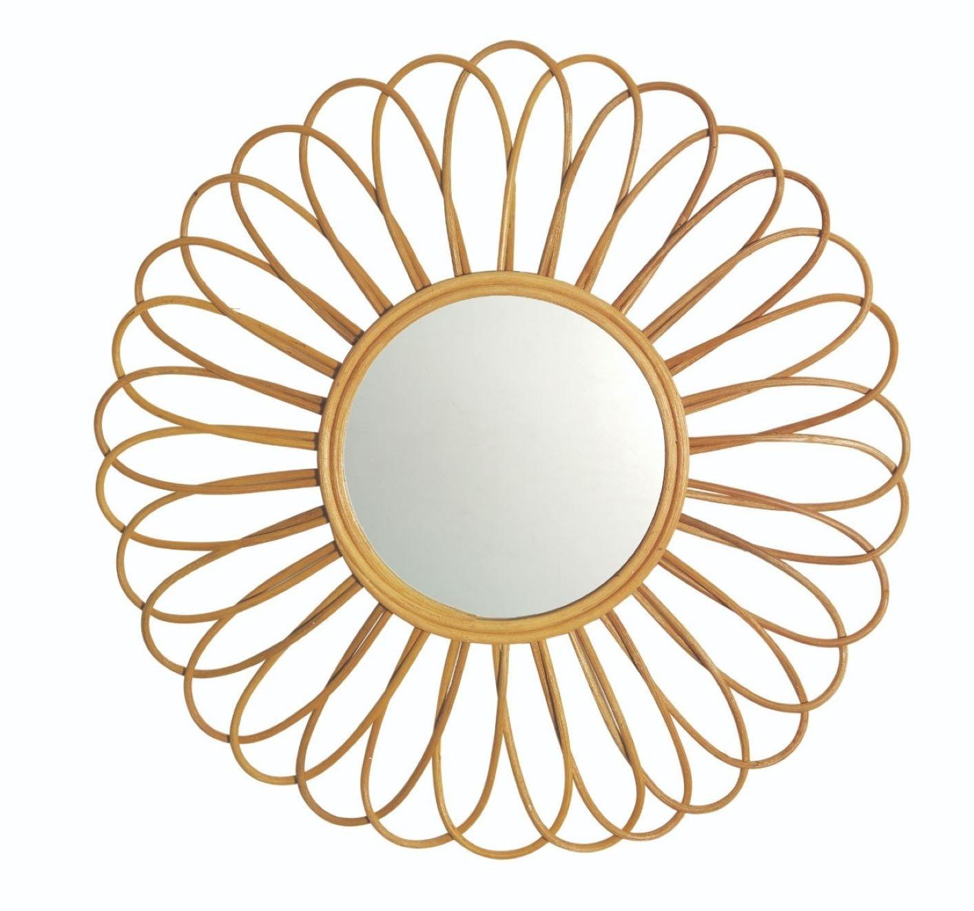 Espelho de Parede em Formato de Flor - De Rattan Estilo Boho