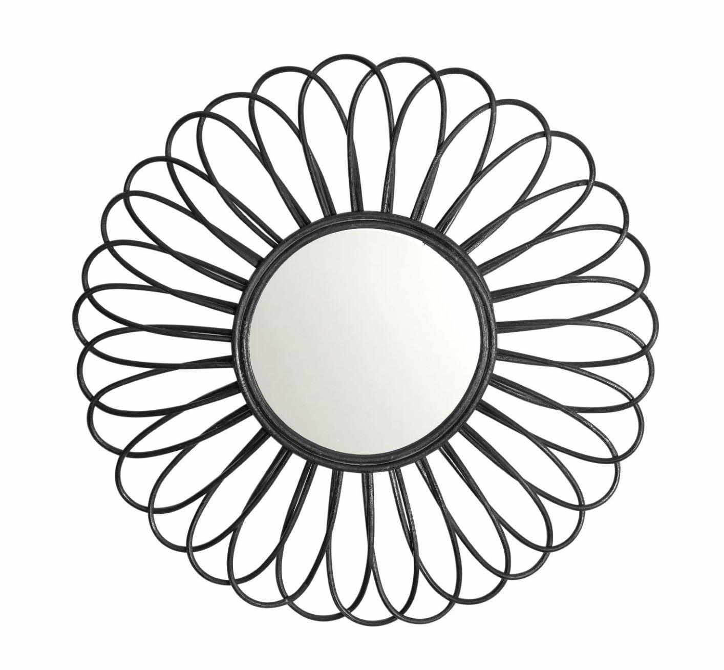 Espelho Decorativo de Parede em Rattan Preto - Formato Flor