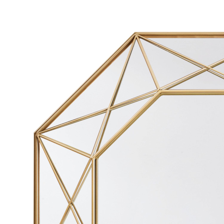 Espelho Decorativo Hexagonal com Moldura Aramada Dourada 46cm