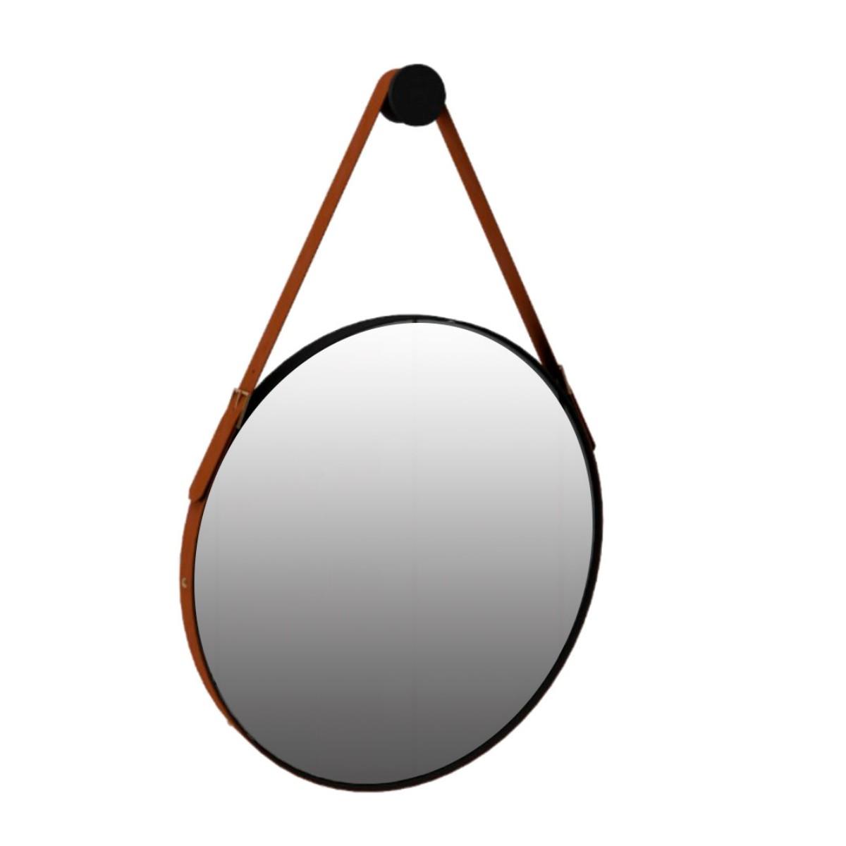 Espelho Redondo Decorativo com Alça Onix - Preto Fosco 50cm