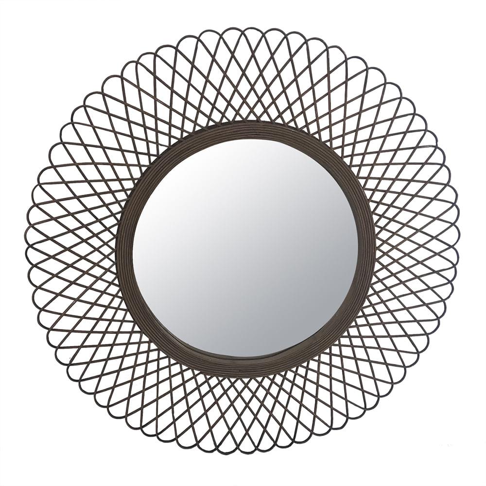 Espelho Redondo Decorativo Com Moldura de Bambu - Boho 70cm