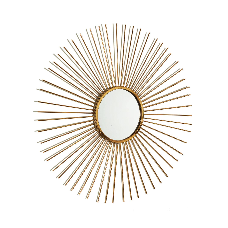 Espelho Redondo Moldura Sol - Espelho Decorativo Dourado 70cm
