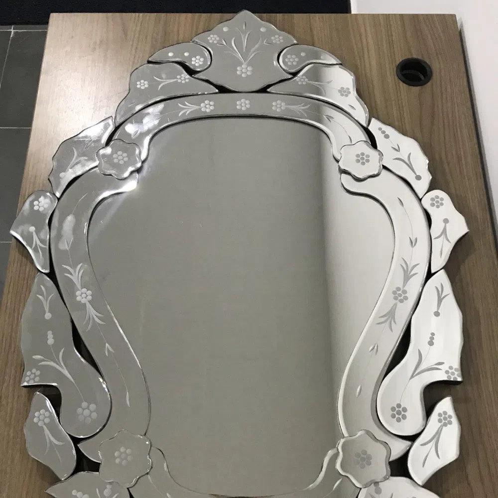 Espelho Veneziano Estilo Provençal 88cm - Moldura em Vidro Trabalhado