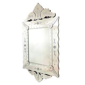 Espelho Veneziano Estilo Provençal com Moldura em Vidro Trabalhado 119cm