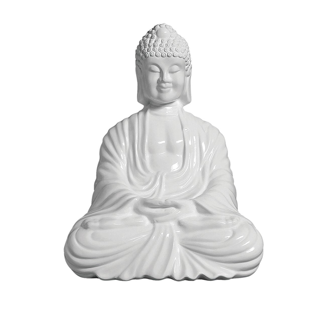 Estátua Buda Branco Grande - Objeto Decorativo em Cerâmica