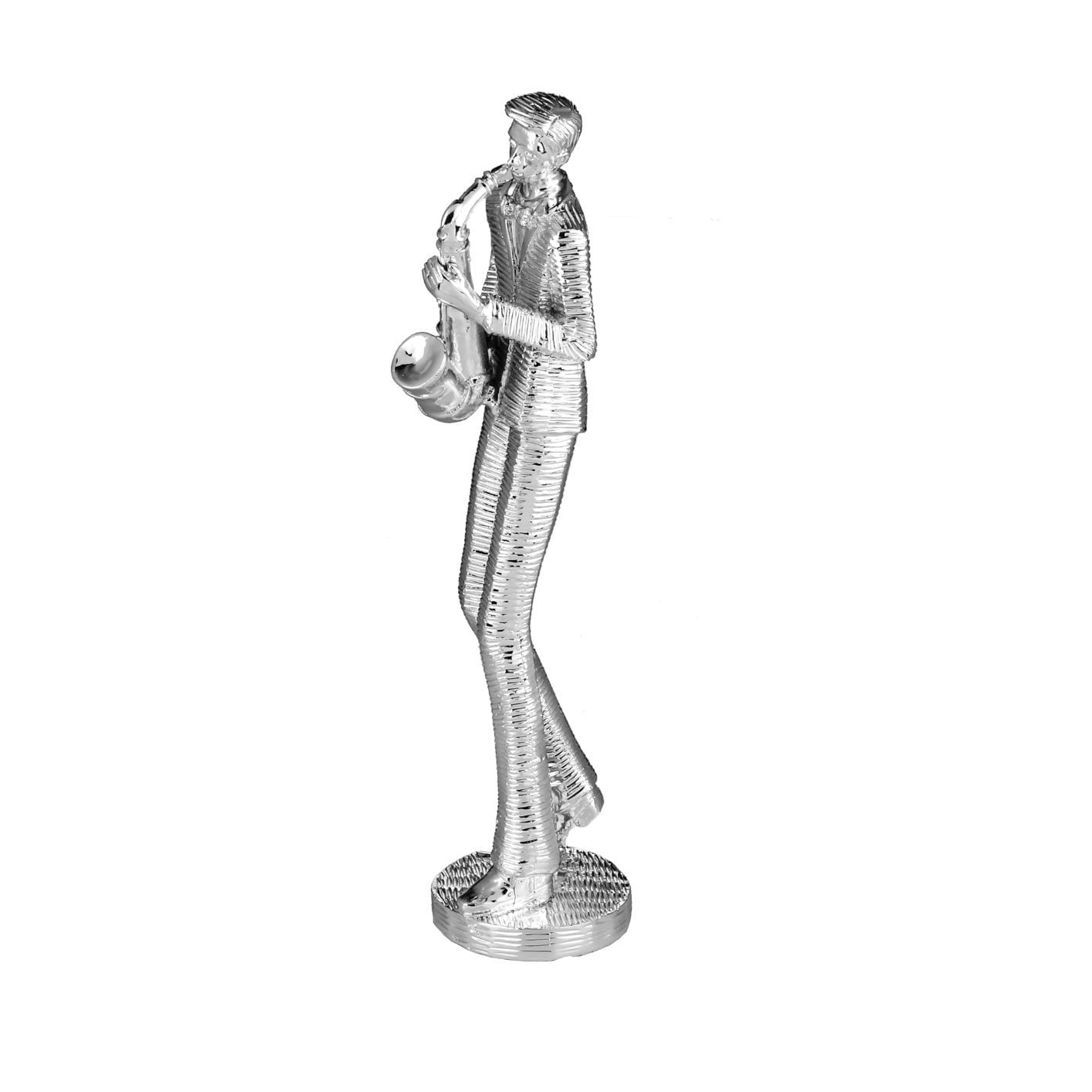 Estatueta Decorativa Músico Tocando Saxofone - Resina Prata