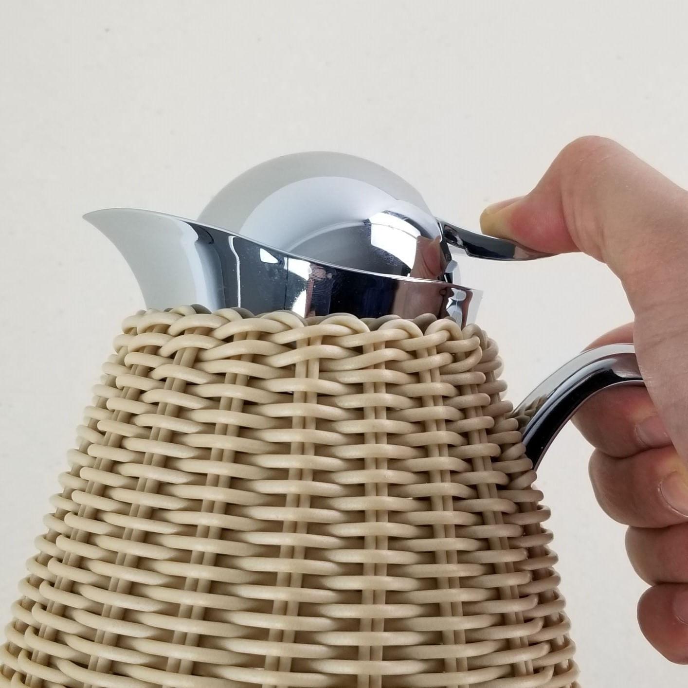 Garrafa Térmica de Inox - Treliça de Rattan Bege Palha Claro