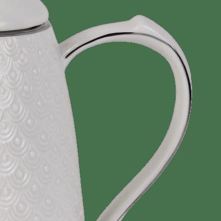 Garrafa Térmica De Porcelana Branca Com Detalhes Prata 700ml