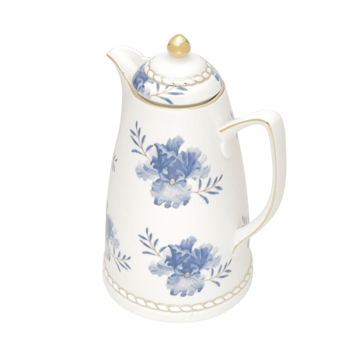 Garrafa Térmica De Porcelana Flores Azuis e Dourado 900ml