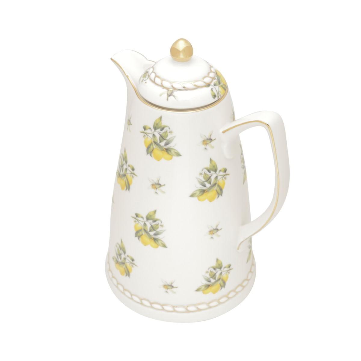 Garrafa Térmica De Porcelana Limões Detalhes Dourados 900ml