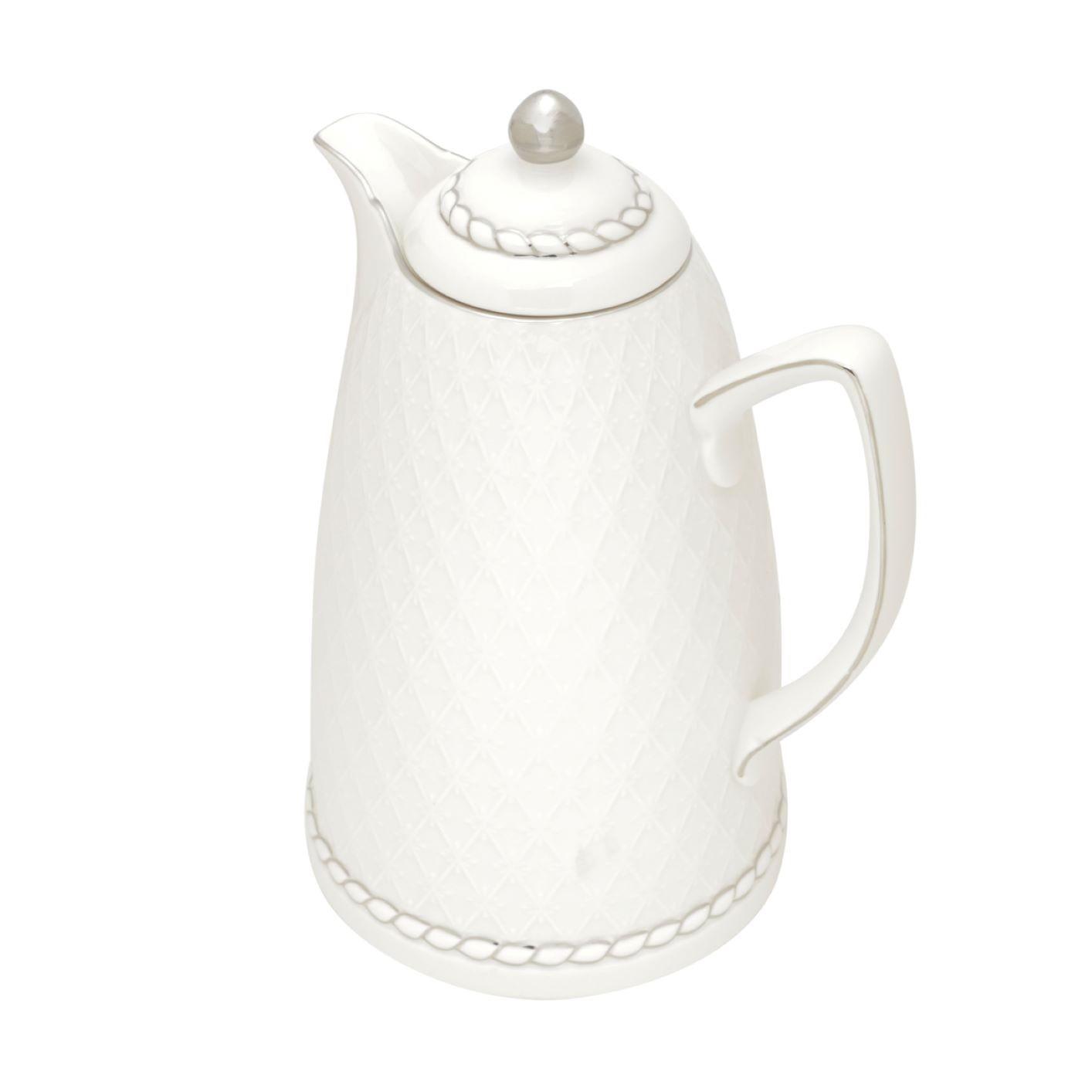 Garrafa Térmica De Porcelana Renda Branca e Prata 900ml