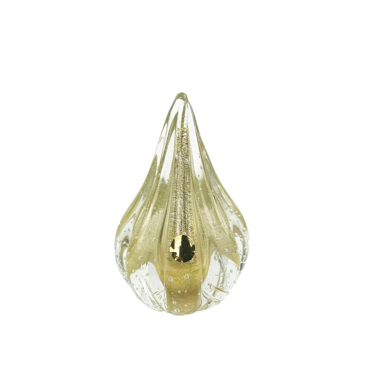 Gota de Murano D'Labone com Ouro 24K - Cristal Transparente 15cm