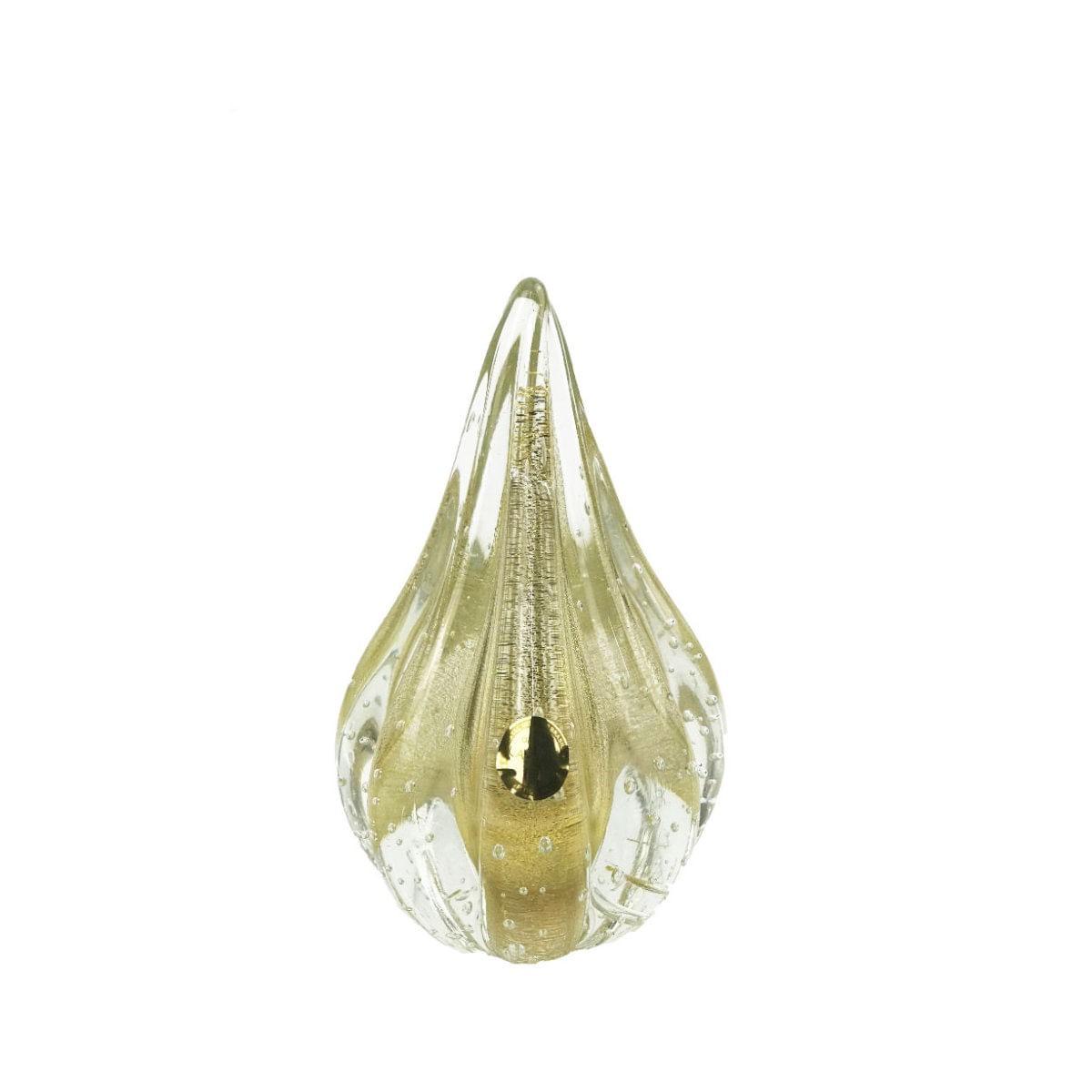 Gota de Murano D'Labone com Ouro 24K - Cristal Transparente 18cm
