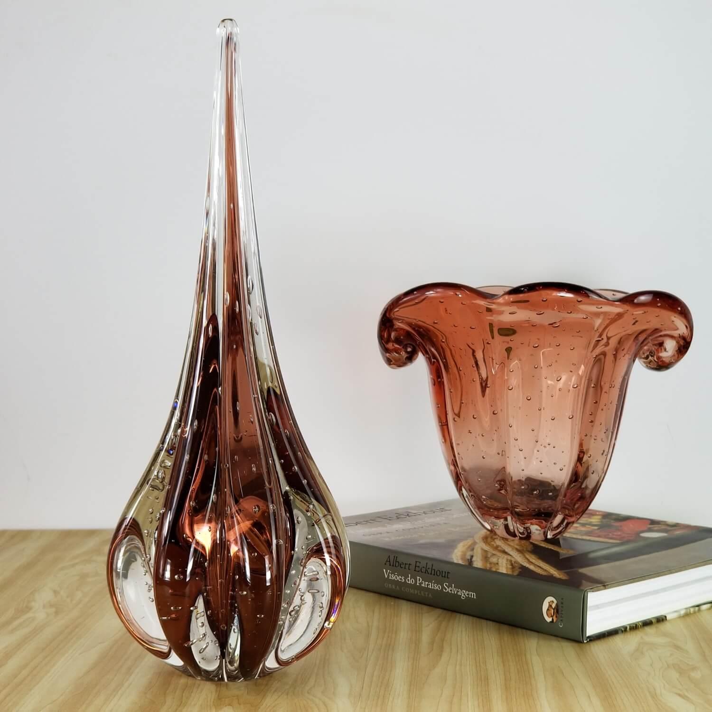 Gota de Murano Labone - Cristal Rubi Dourado 40cm