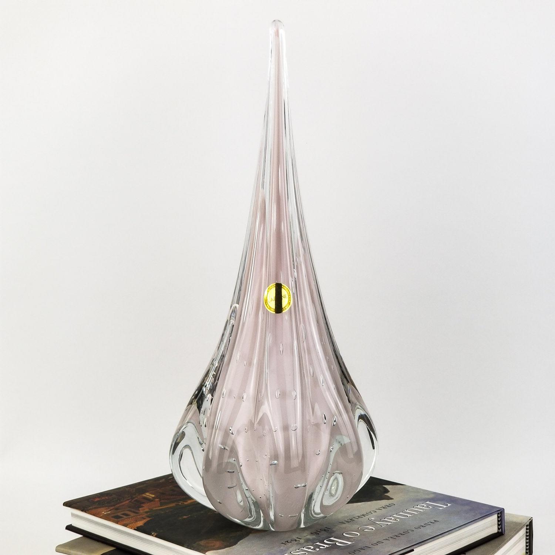 Gota de Murano Labone - Rosa Bebê / Cristal Rosa Jade 40cm
