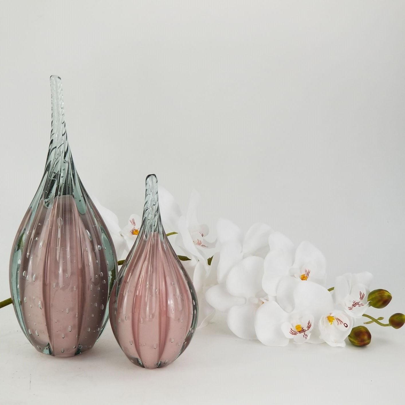 Gota de Vidro Torcido Tipo Murano JR Glass - Rosa Grande