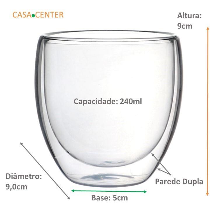 Jogo 2 Copos de Vidro Com Parede Dupla Para Café (240ml)
