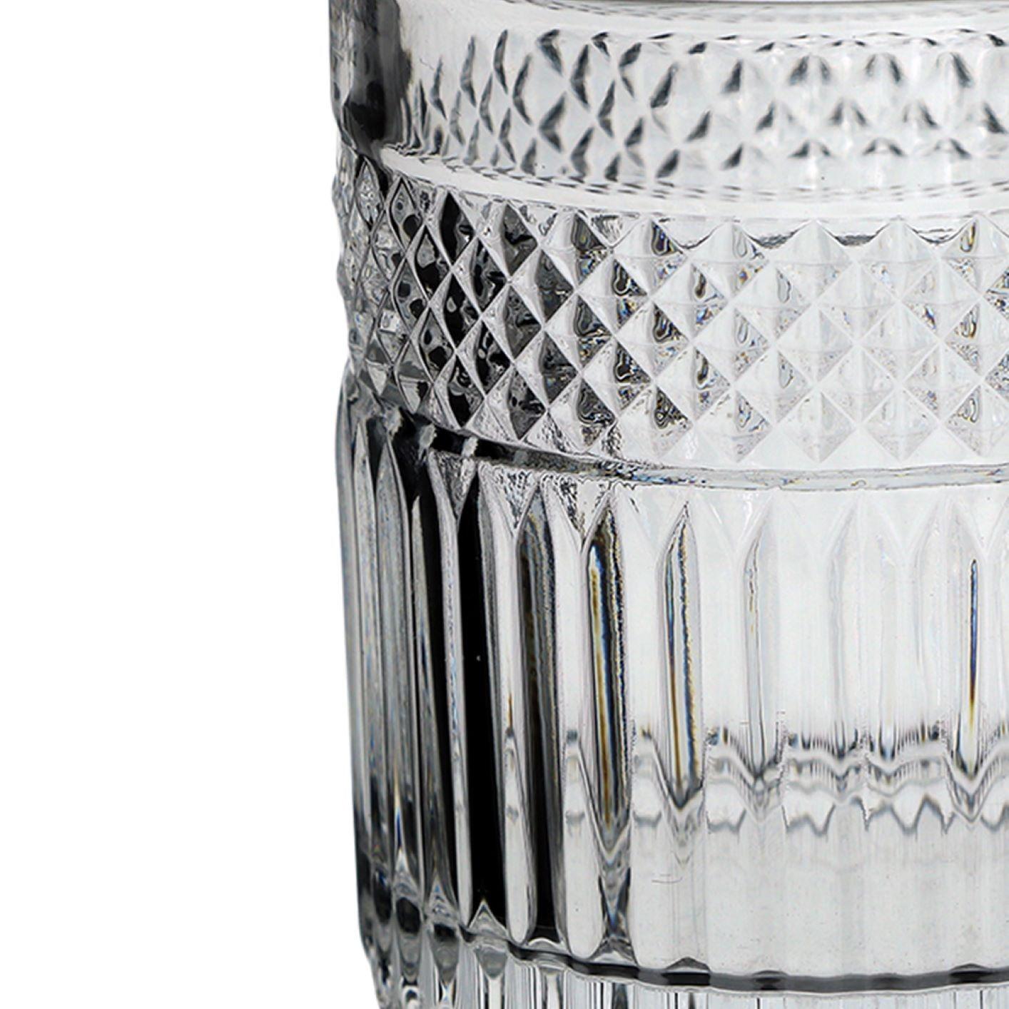 Jogo 6 Copos Baixos Vidro Lapidado - Para Água / Suco 320ml