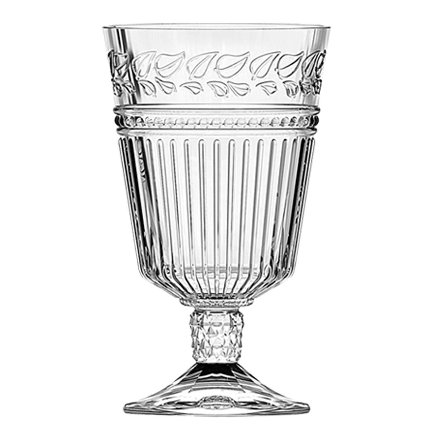 Jogo 6 Taças de Vidro Com Folhas 330ml Para Água / Vinho