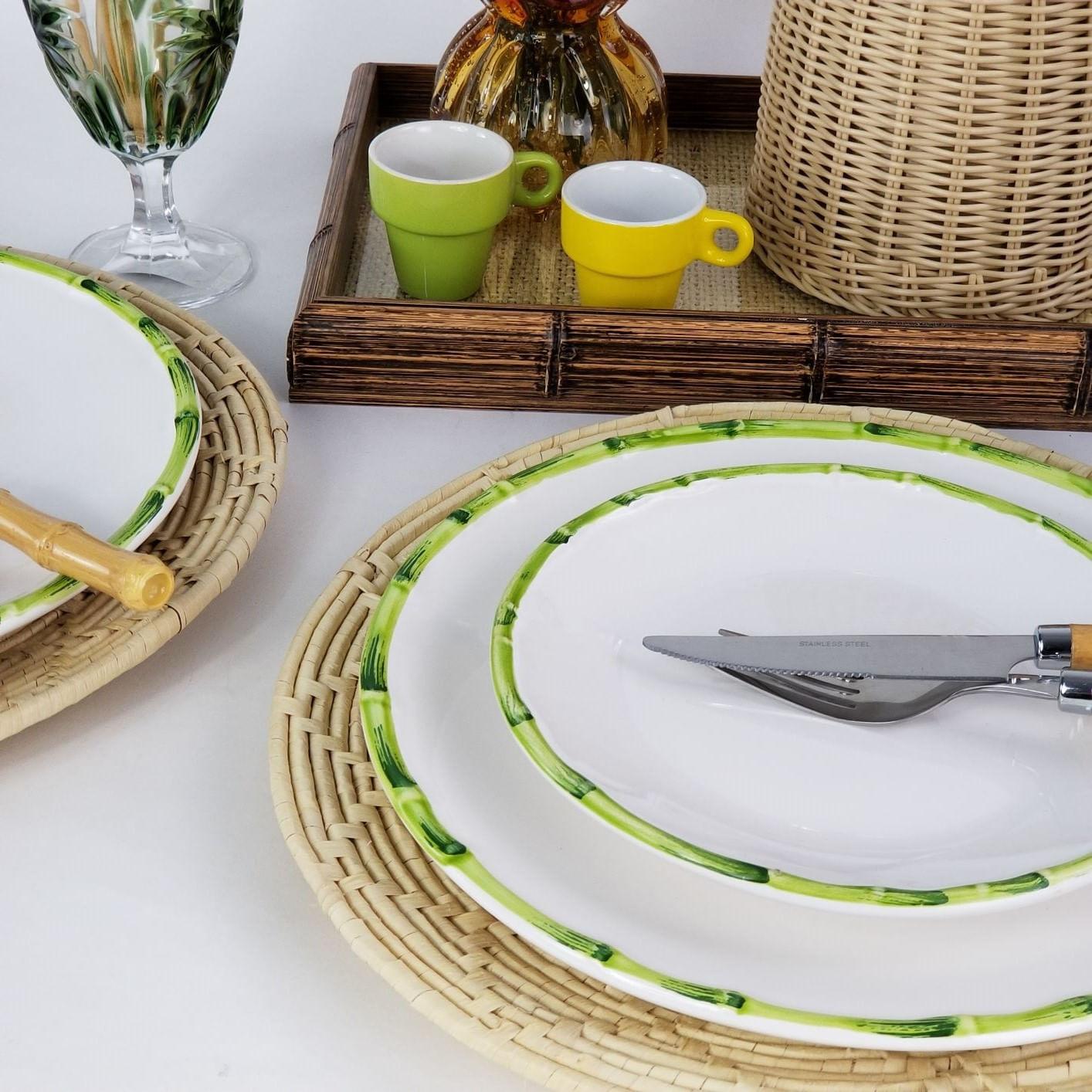 Jogo De Pratos de Sobremesa - Scalla Bambu Verde (6 Peças)