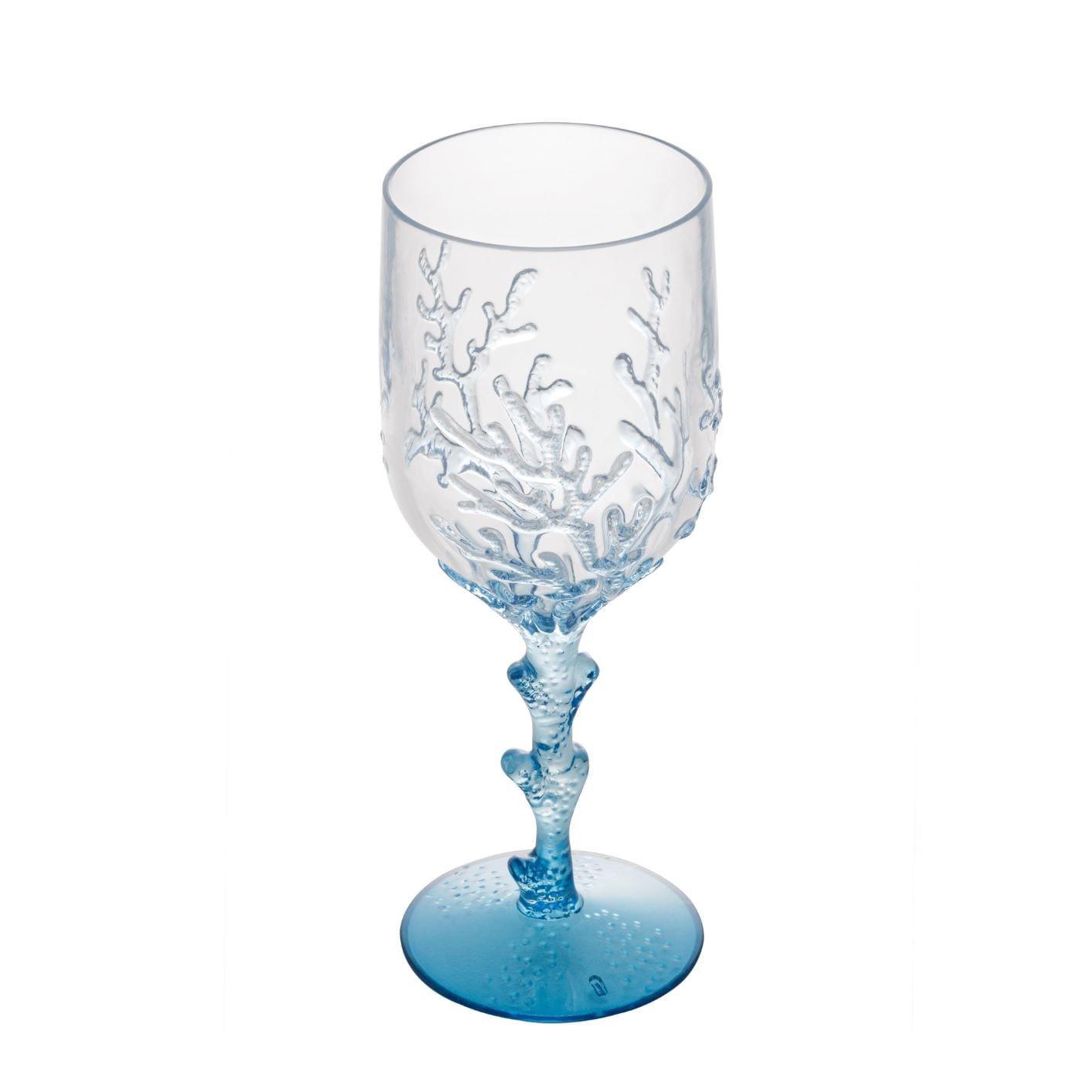 Jogo De Taças de Acrílico - Coral Azul 450ml (6 Peças)