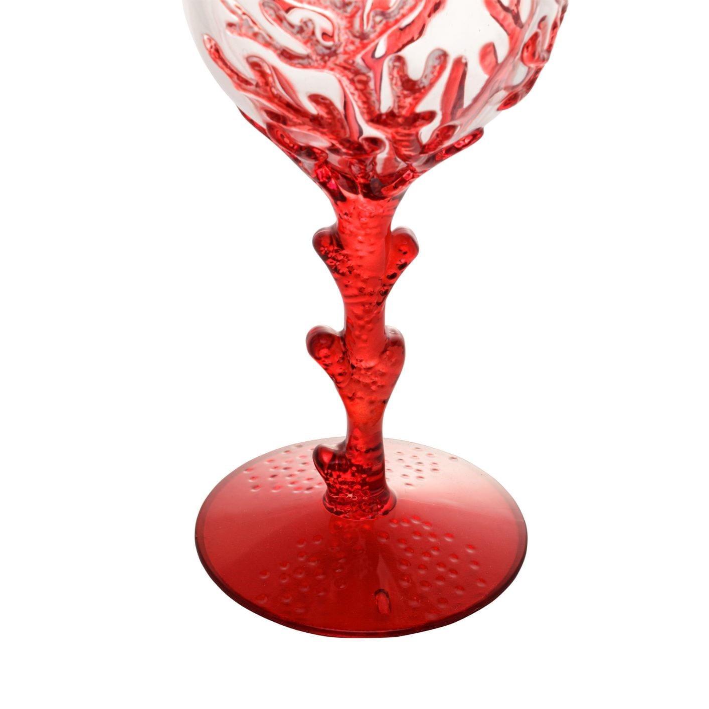 Jogo De Taças de Acrílico - Coral Vermelho 450ml (6 Peças)