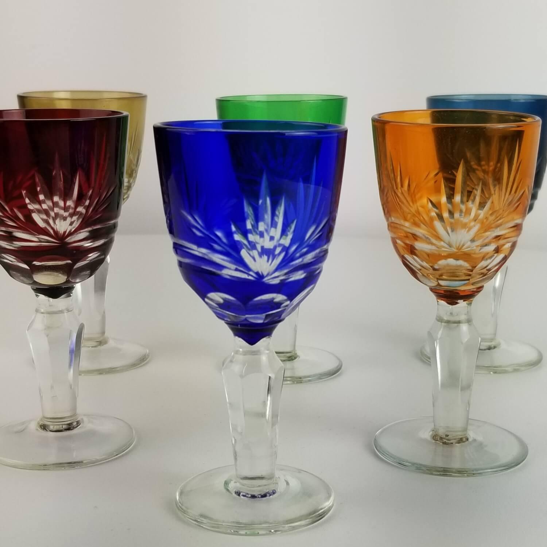 Jogo de Taças Lapidadas para Licor - Coloridas (6 Peças)