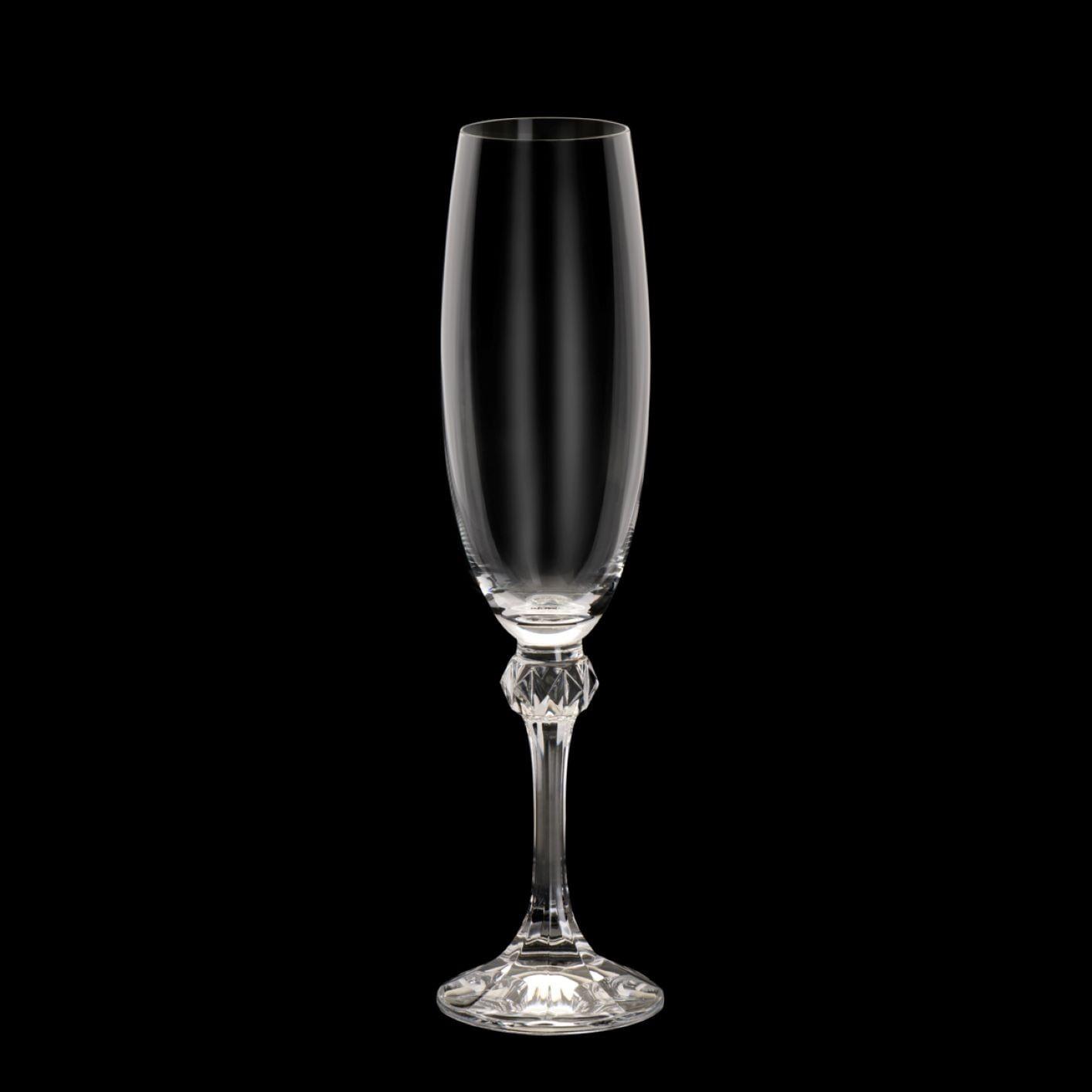 Jogo 6 Taças de Cristal para Champanhe Bohemia Elisa 220Ml