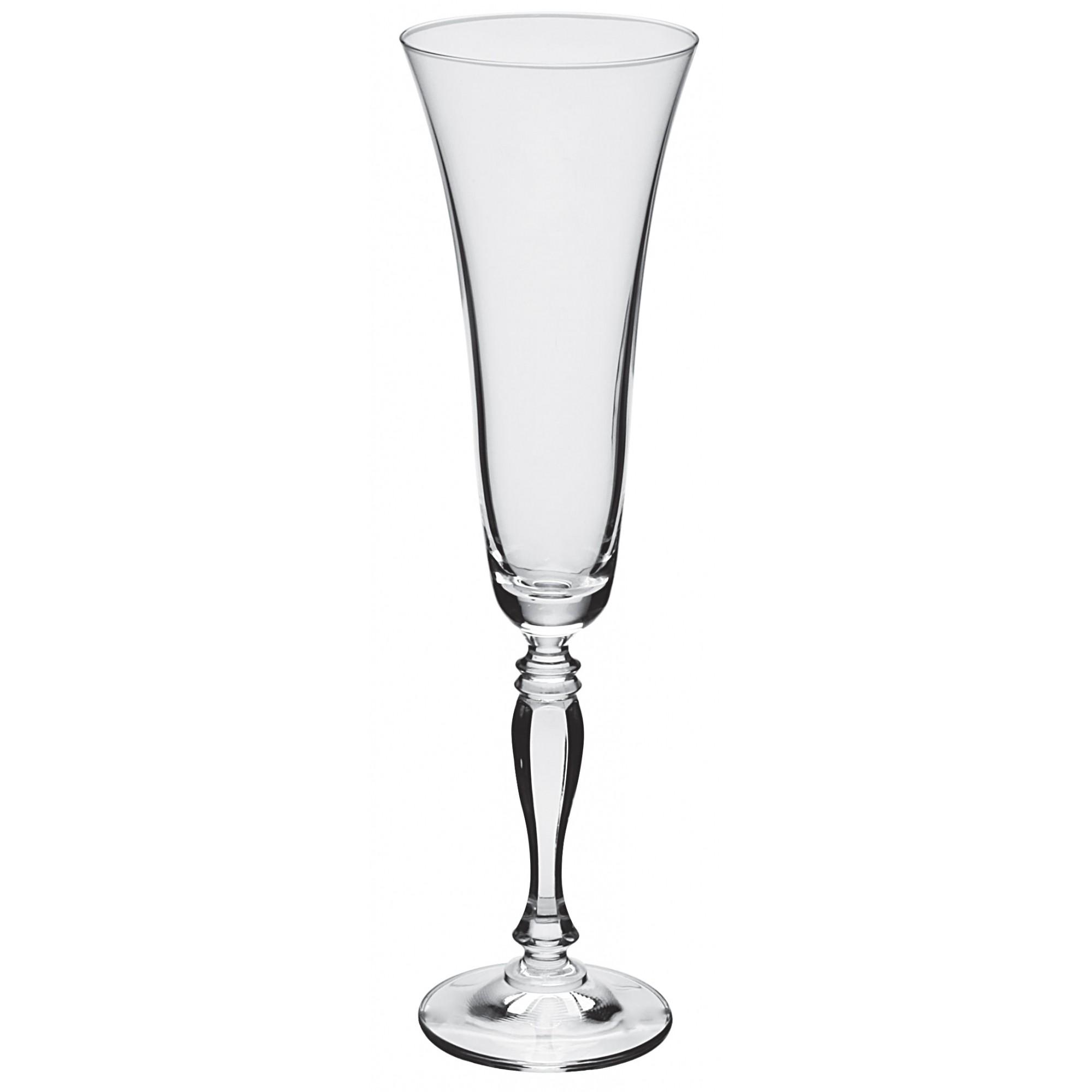 Jogo Taças Champanhe Cristal Bohemia Com Titânio (6 Peças)