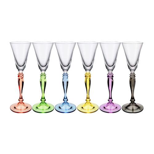 Jogo Taças Coloridas de Licor em Cristal Bohemia (6 Peças)