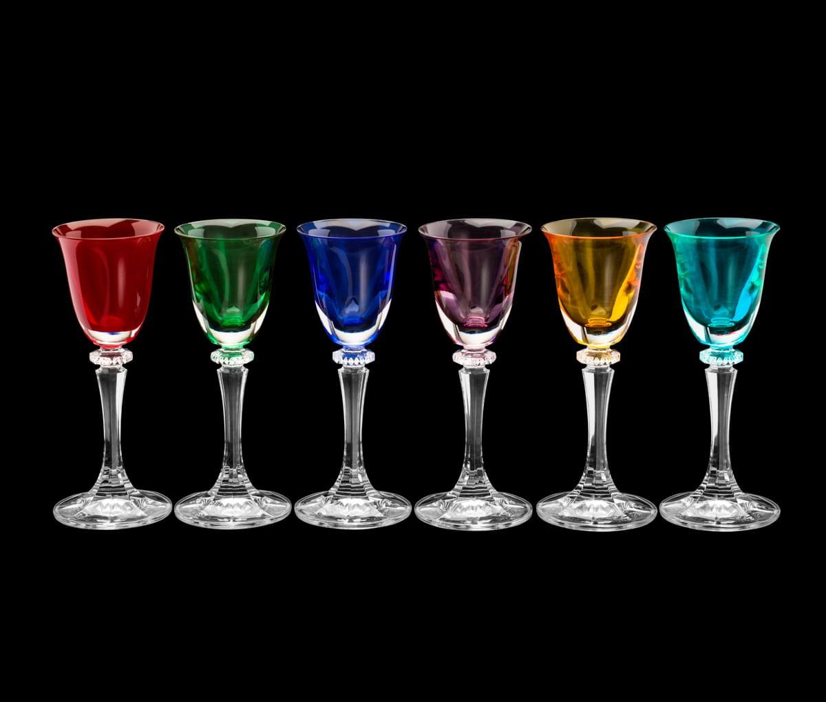 Jogo Taças Cristal Bohemia Coloridas De Licor 50ml (6 Peças)
