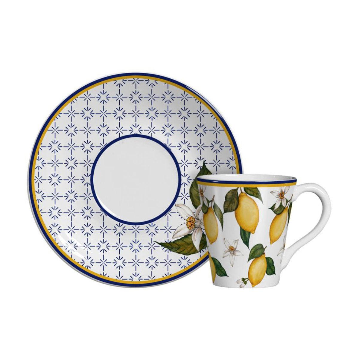 Jogo Xícaras de Chá Scalla Sicília - Limões Sicilianos (6 Pessoas)