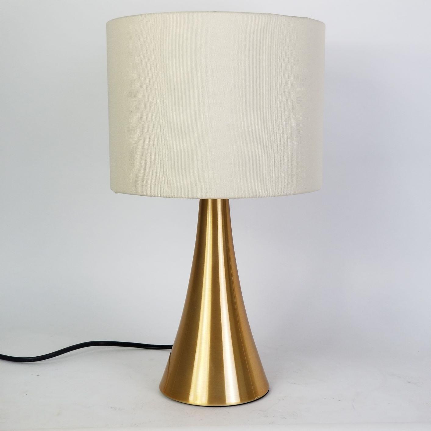 Kit 2 Abajures de Alumínio Dourado Cúpula Bege Palha