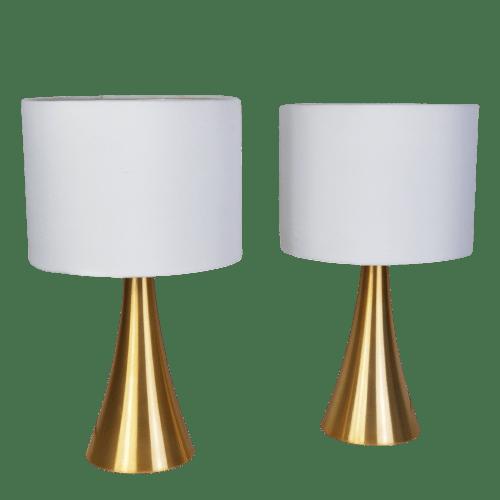 Kit 2 Abajures de Quarto em Alumínio Dourado e Cúpula Branca