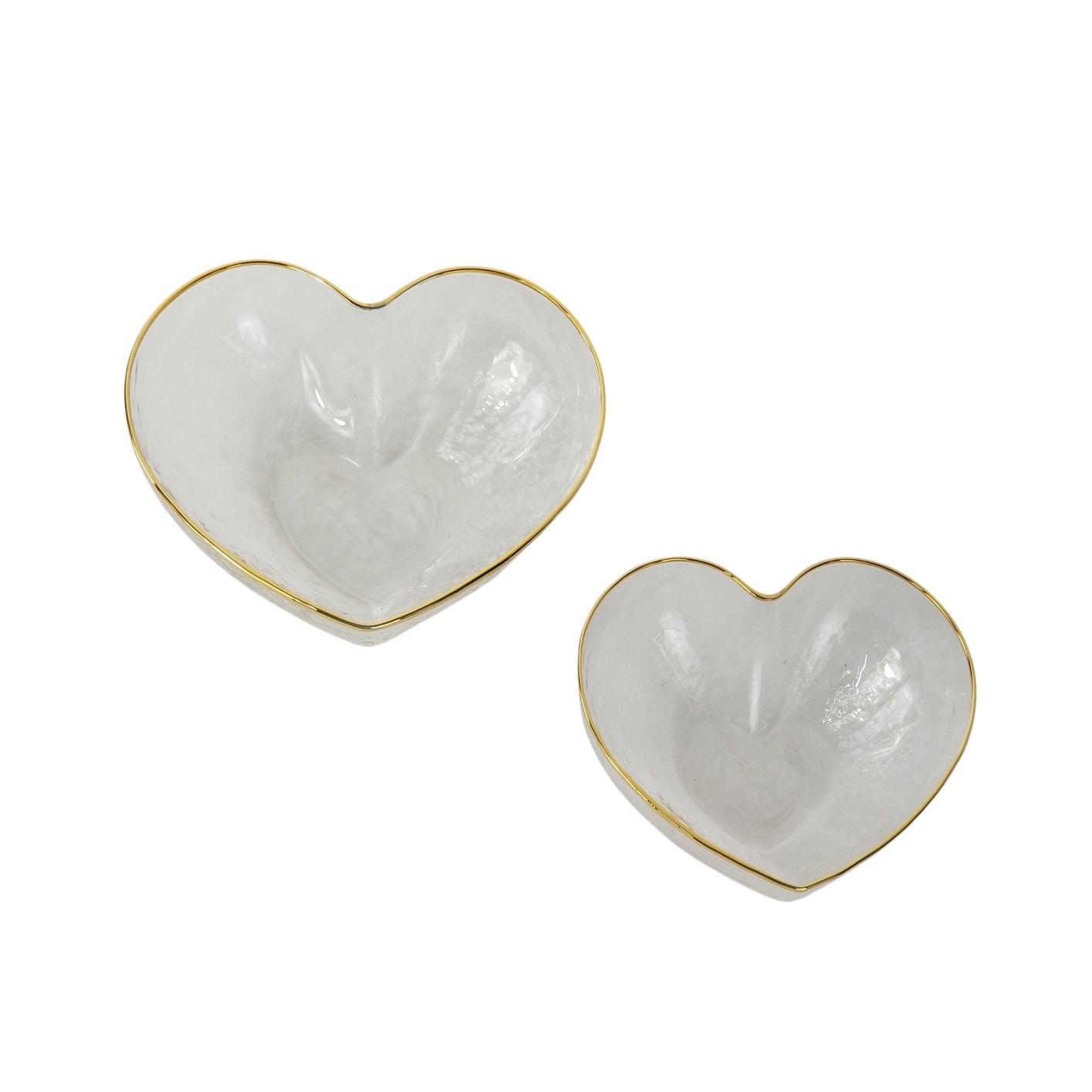 Kit 2 Bowls Heart Formato Coração - Vidro e Borda Dourada