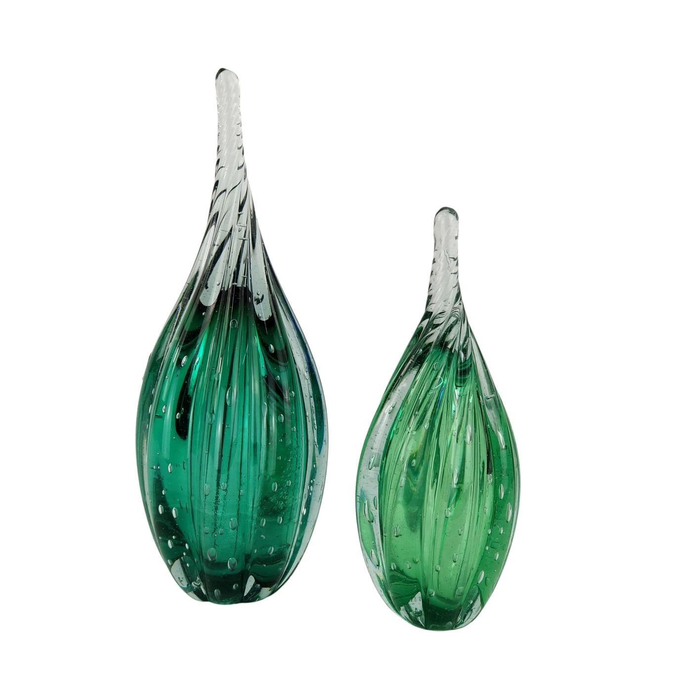 Kit 2 Gotas de Vidro Torcido Tipo Murano - Verde Esmeralda