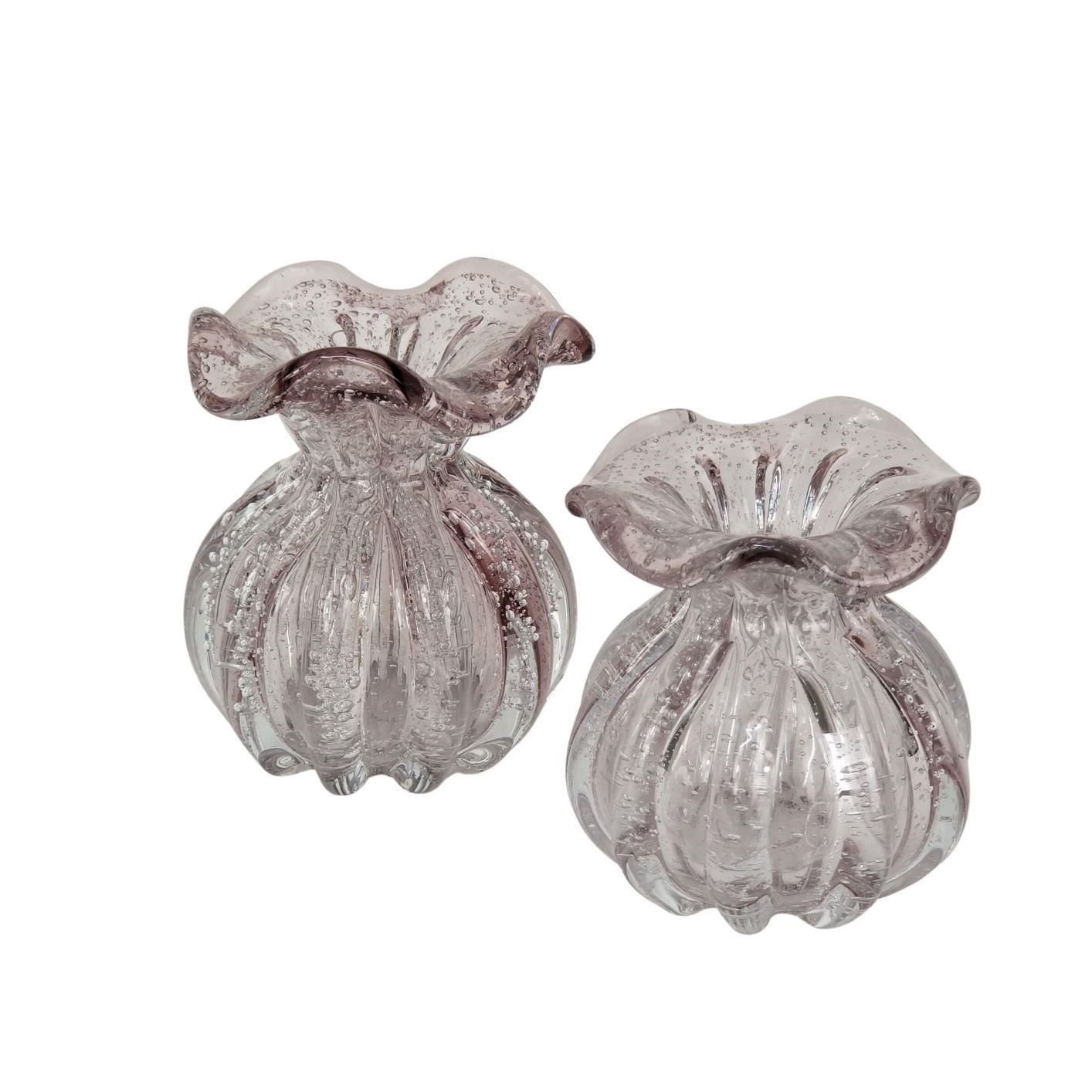 Kit 2 Mini Trouxinhas de Murano Rosa - Vasinhos Para Flores