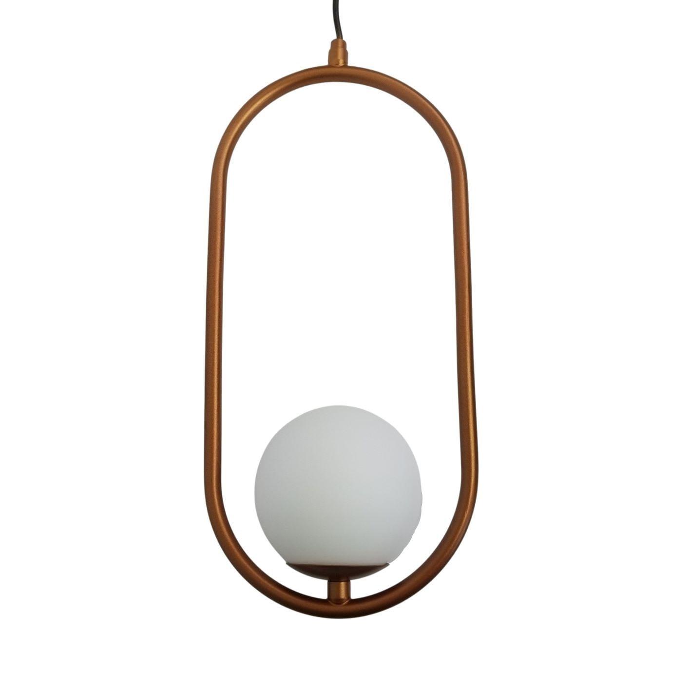 Kit 2 Pendentes Modernos Aro Oval Cobre com Globo Branco