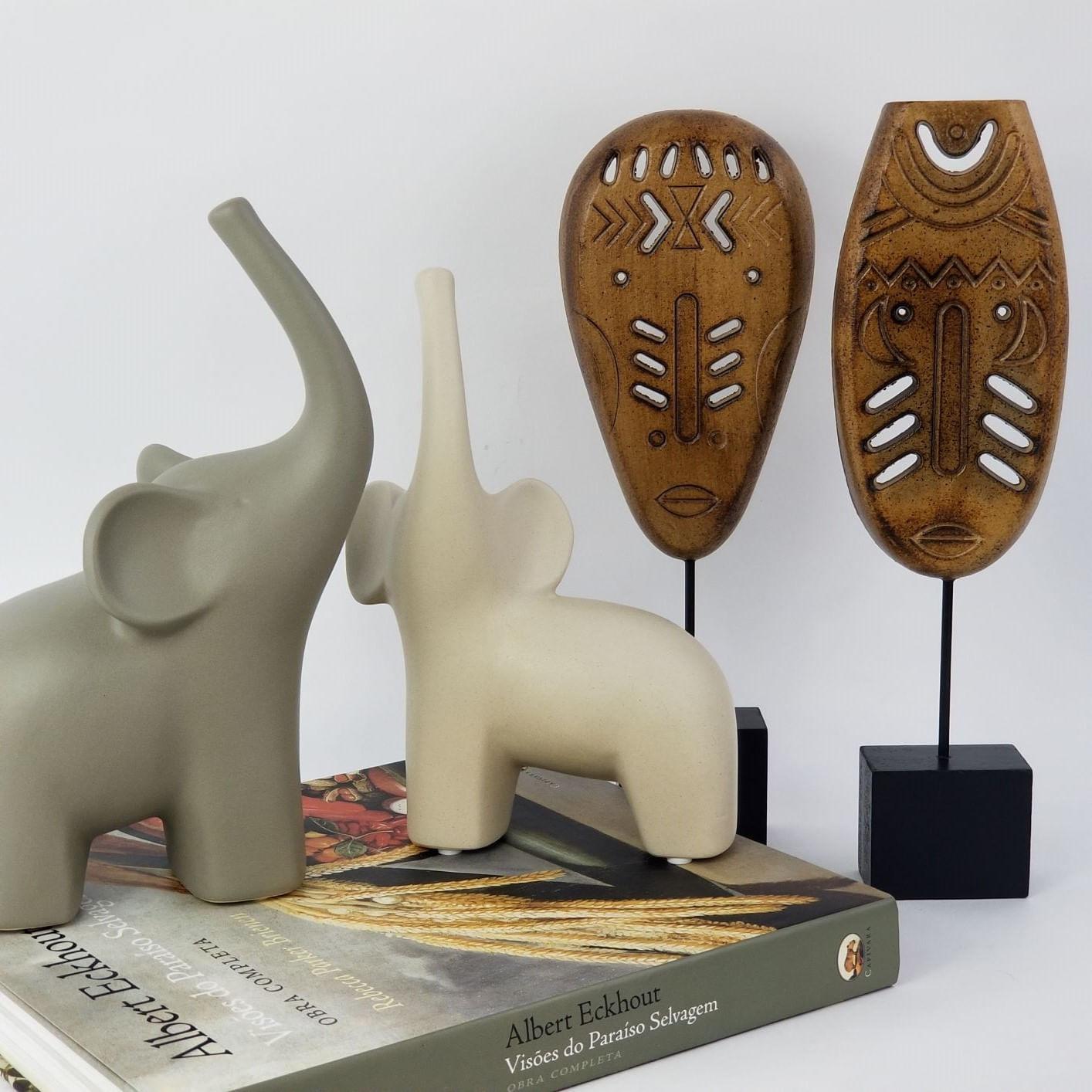 Kit 2 Rostos / Máscaras de Madeira - Estilo Étnico Africano