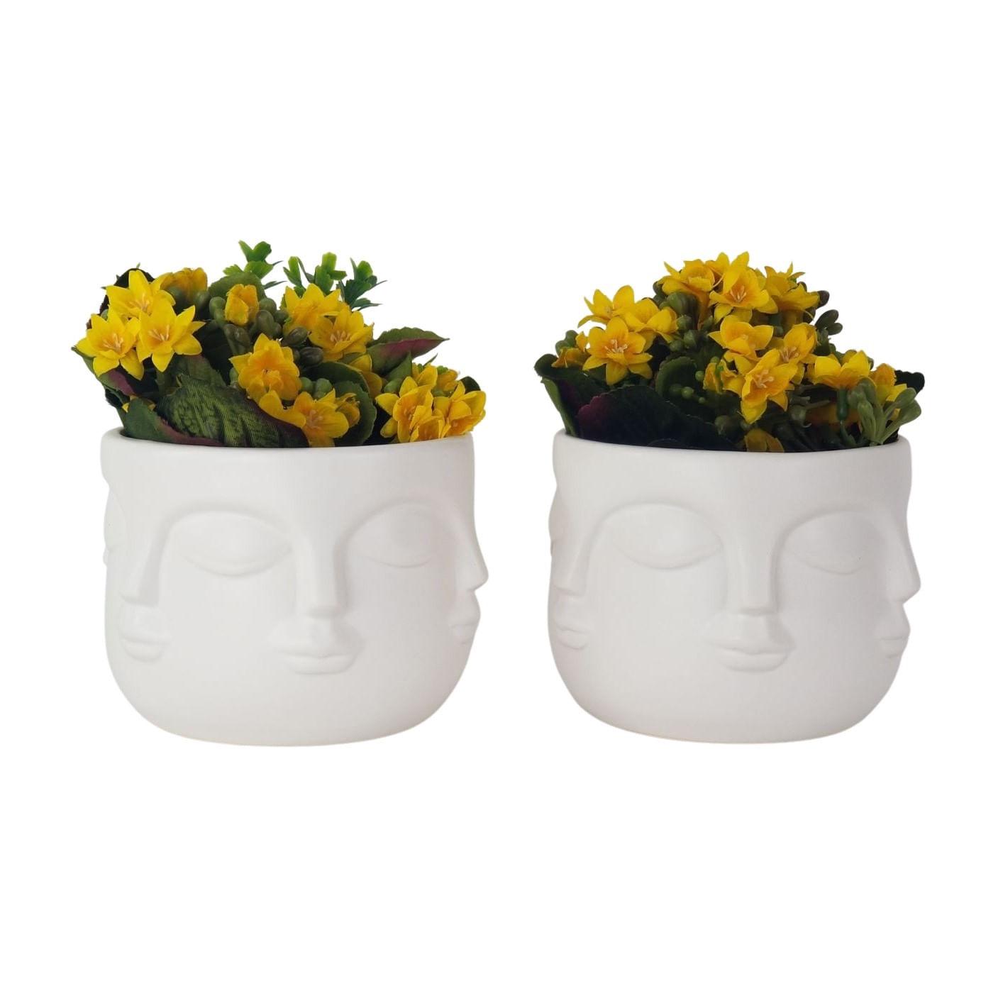 Kit 2 Vasos de Cerâmica Rostos Brancos - Vasinhos com Faces