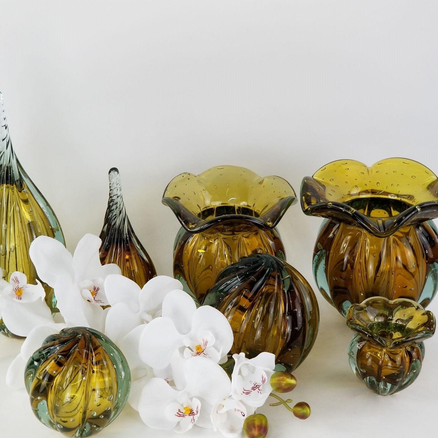 Kit 2 Vasos Trouxinhas de Vidro Tipo Murano JR Glass - Âmbar