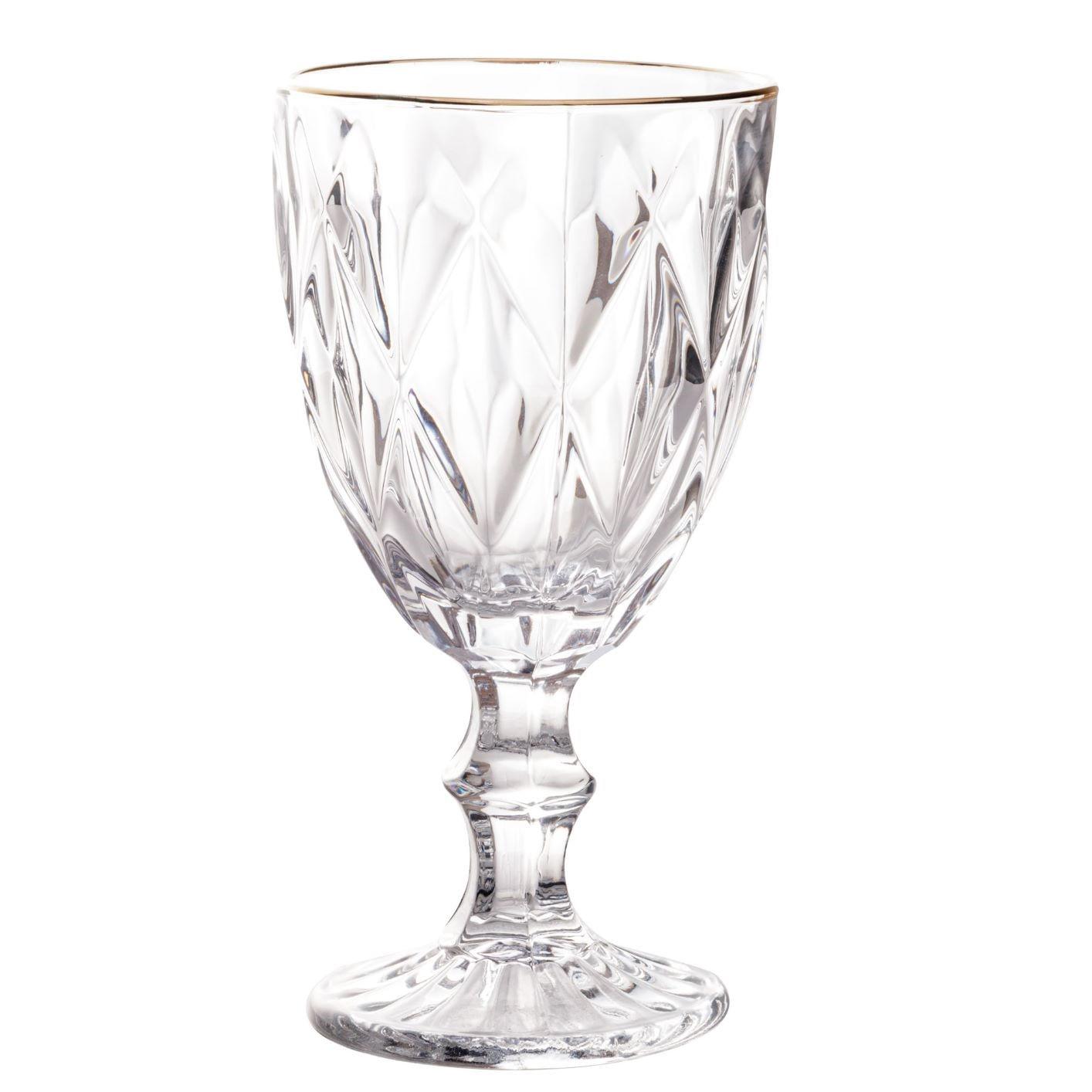 Kit 6 Taças com Fio de Ouro - Diamond Transparente 325ml