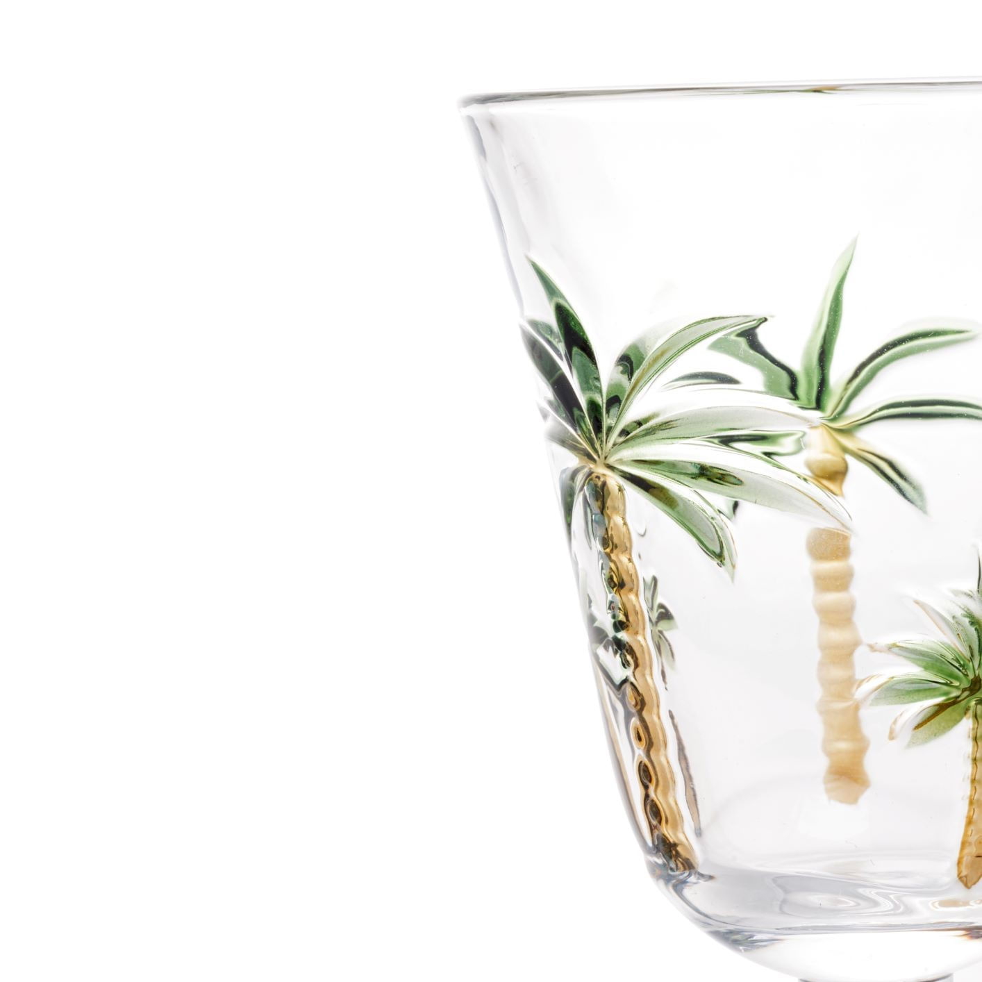 Kit 6 Taças de Cristal - Tropical Palm Pintadas à Mão 240ml