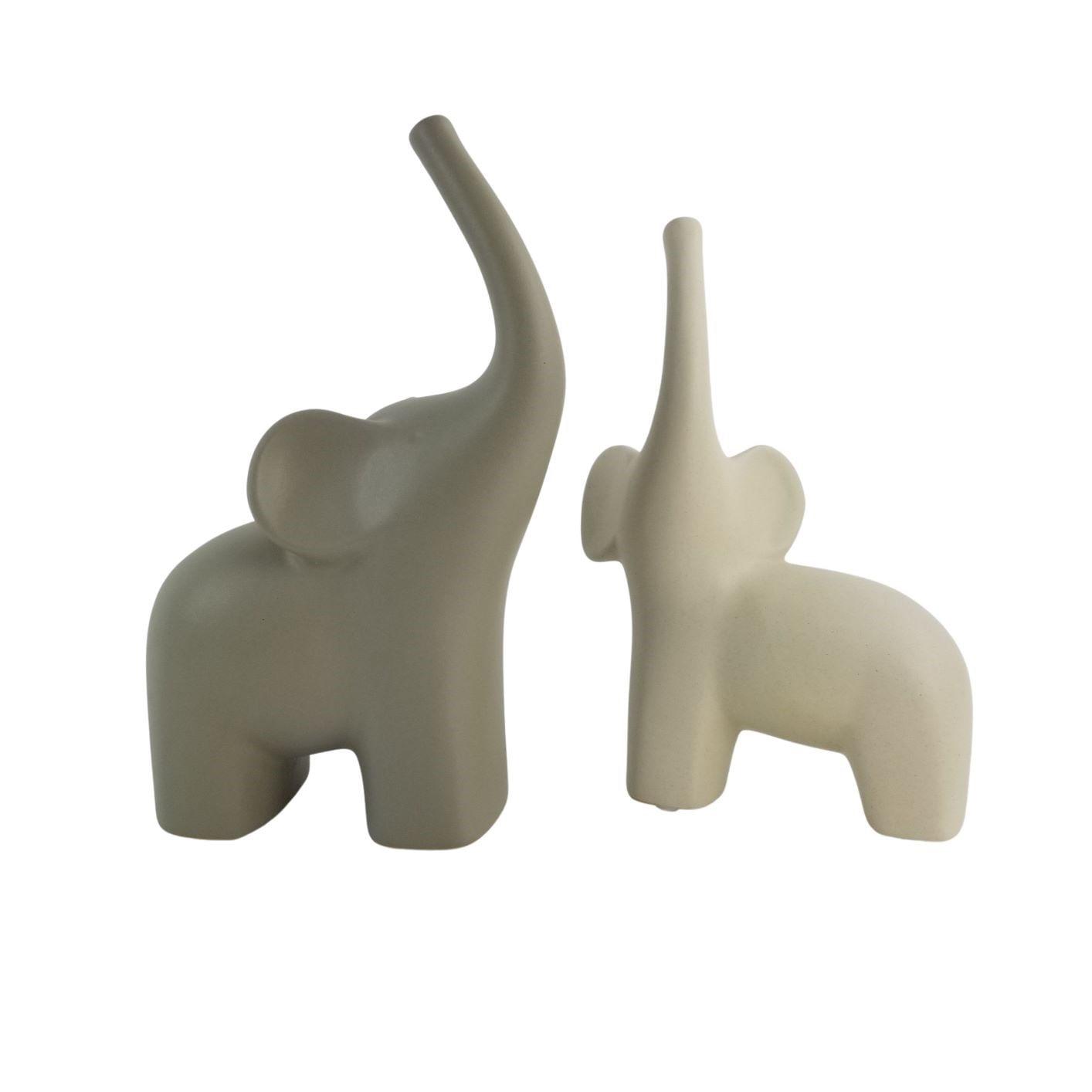 Kit Elefantes Decorativos de Cerâmica - Cinza e Off-White