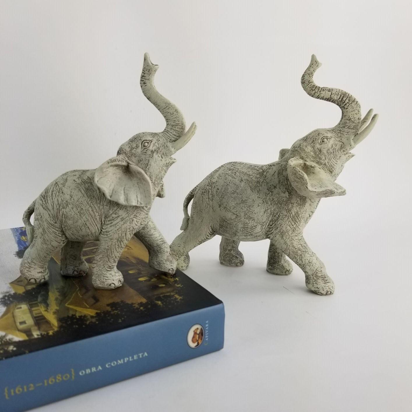 Kit Elefantes Decorativos de Resina - Mãe e Filho Cor Cinza