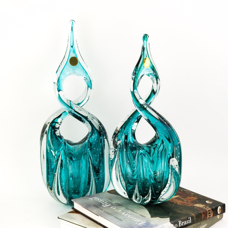 Kit Esculturas De Murano Labone - Verde Esmeralda (2 Peças)